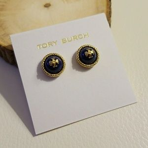 Tory Burch navy rope logo earrings